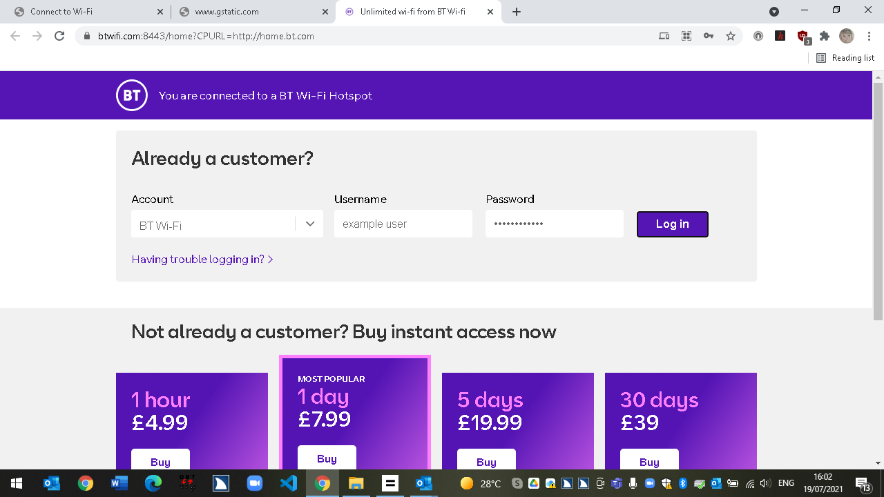 A screenshot of the BT WiFi login page. You see the login form and the different access passes.